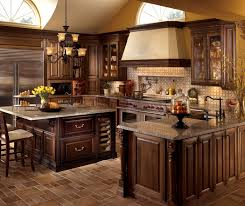 u shaped kitchen design with cherry cabinets decora