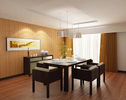tranquil asian dining room interior with laminate floor and wood