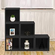 storage cubes in black wood grain and cubby bookcase way basics