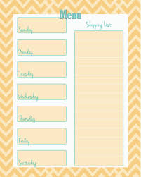 Menu Planner With Grocery List Template Free Weekly Menu Planner Printable 4 Colors Weekly Menu