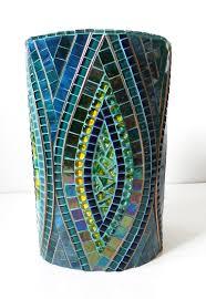 Large Mosaic Vase Pot De Décoration Vitrail Mosaïque Vase Plant Sur Base En