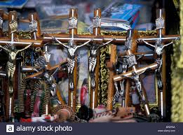 crucifixes for sale crucifixes for sale in a market in guadalajara mexico stock photo