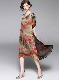 vintage o neck print loose shift dress dress online printing