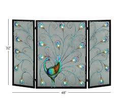 benzara the colorful metal fireplace screen