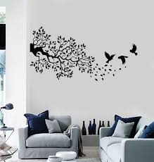 vinyl wall decal branch leaves tree birds room decor stickers