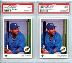 lot detail 1989 upper deck 13 gary sheffield rc rookie card 1989 upper deck 13 gary sheffield rc rookie card error ss upside down pair both