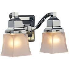 Bathroom Lights At Home Depot Hton Bay 2 Light Chrome Vanity Light With Etched Glass Shades