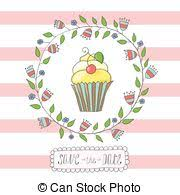 vectors of pink cupcake invite cute pink party birthday cupcake