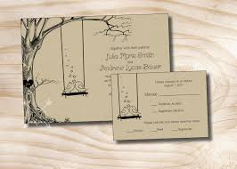 Invitation Reply Card Vintage Tree Swing Lovebirds Kraft Paper Wedding Invitation