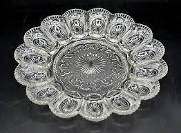 glass deviled egg plate vintage clear tiara glass sandwich pattern deviled egg plate tray
