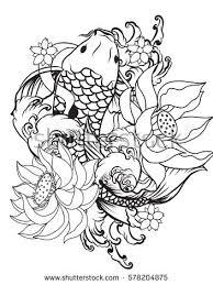 outline koi fish stock vector 578204875
