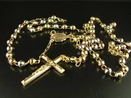 gold rosary 10k tri col gold rosary diamond cut necklace chain 26 4 ebay