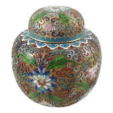Enamel Vase Vintage Cloisonne Chinese Enamel Gold Gilded Metal Vase Lotus
