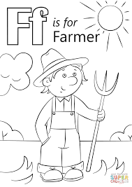letter f is for farmer coloring page free printable coloring pages