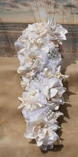 wedding bouquets with seashells aqua and coral handmade seashell flower cascading seashell bouquet