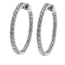gold diamond hoop earrings 14k gold 5 98ctw diamond hoop earrings 8609492 hsn
