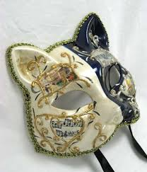 venetian cat mask blue and white party animal mask cat masks venetian