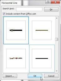 how to insert an artistic or decorative horizontal line in word