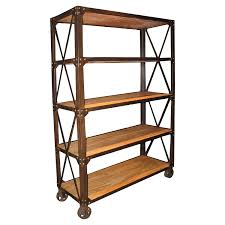 Bookcase With Baskets Amazon Com Chorley Industrial Rustic Metal Wood Rolling Bookcase