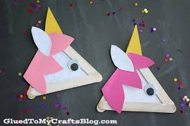 popsicle stick unicorns kid craft glued to my crafts