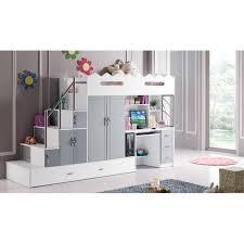 chambre combiné fille lit combine lit multifonction momo gris et blanc lit combiné