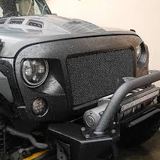 american flag jeep grill opar black aggressive spartan front grille with mesh inserts for
