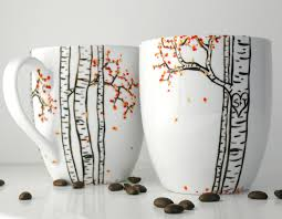 autumn aspen forest 2 large personalized mugs hand painted