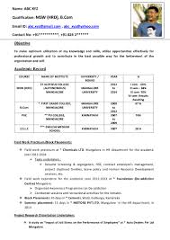 Format Of Resume In Word Freshers Cv Format