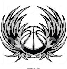 royalty free vector of a logo of a grayscale basketball with wings