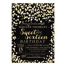 sweet 16 invitations gold foil confetti sweet 16 party invitation card