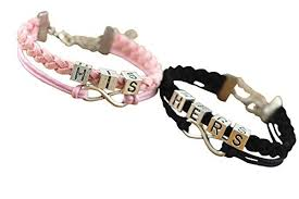black bracelet pink images Couples bracelets retro his and hers bracelets jpg