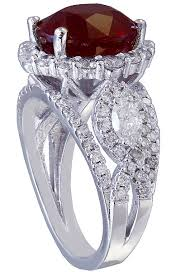 white gold oval ruby and diamonds engagement ring art deco style