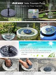 Solar Powered Water Features With Led Lights by Amazon Com Ankway Solar Bird Bath Fountain Pump 1 4w Free