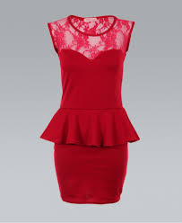 cocktail dress red lace back sleeveless peplum ustrendy