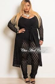 final sale plus size mesh 2 piece duster and legging set in black