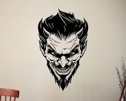 scary demon face vinyl sticker satanic devil decal halloween