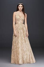gold wedding dress embroidered mesh a line dress with skirt david s bridal