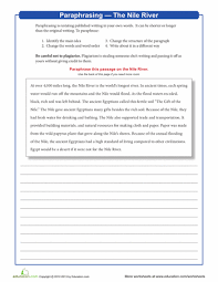 paraphrasing the nile river nile river worksheets and rivers