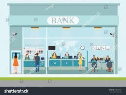 Building Exterior by Bank Building Exterior Interior Counter Desk Stock Vector