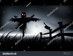 lonely dark evil this scarecrow get stock vector 15813298