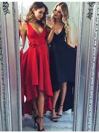 buy nice red navy blue v neck sleeveless high low with sash prom