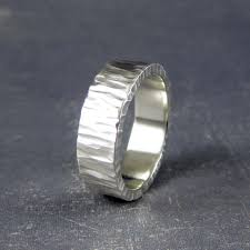 rustic mens wedding bands rustic mens wedding band in carved tree bark pattern two silver