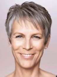 trendy gray hair styles short hairstyles over 50 jamie lee curtis short grey hairstyle