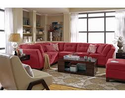 red living room set 3 pc red sectional and ottoman solace poppy ii living room set