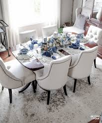 Dining Room Table Setting Dishes Fall Table Settings With A Blue And White Palette Fall