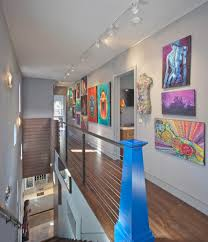 art gallery bedroom hall contemporary with newel post metal
