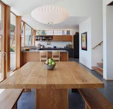 Modern Wooden Kitchen And Dining Area Contains Timber Dining Table - Light wood kitchen table