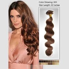 light auburn 30 wave clip in hair extensions peruvian hair