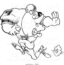 vector of a cartoon football rhino running coloring page outline