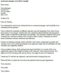 restaurant manager cover letter example learnist org